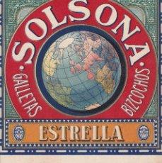 Etiquetas antiguas: ETIQUETA DE GALLETAS Y BIZCOCHOS SOLSONA, ESTRELLA SOLSONA AÑOS 50/60 25 X 22,2 CM. Lote 110229831