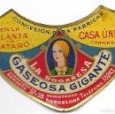 Etiquetas antiguas: LA DOGARESA *GASEOSA GIGANTE* MATARO **AÑOS 30/40**. Lote 110888075