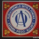 Etiquetas antiguas: ETIQUETA ORIGINAL NARANJAS, DE HIJO DE CARMELO ORTOLÁ FEMENIA, PEGO, ALICANTE, ESPAÑA. Lote 160982492