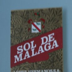 Etiquetas antiguas: ANTIGUA ETIQUETA BODEGAS LOPEZ HERMANOS MALAGA: SOL DE MALAGA VINO DULCE. Lote 111843671
