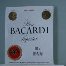 Etiquetas antiguas: ANTIGUA ETIQUETA RON BACARDI SUPERIOR , EN RELIEVE SUS MEDALLAS CONCEDIDAS - RARA DIFICIL CONSEGUIR. Lote 111849827