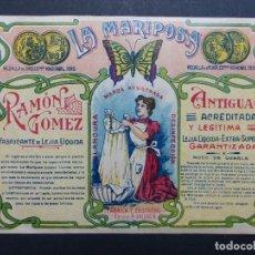 Etiquetas antiguas: LEJIA LA MARIPOSA - RAMON GOMEZ - VALENCIA - MUY ANTIGUA. Lote 111902835