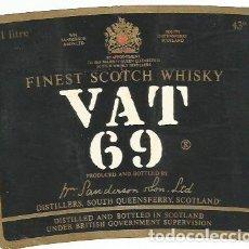 Etiquetas antiguas: ANTIGUA ETIQUETA WHISKY VAT 69. Lote 112227919