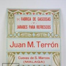 Etiquetas antiguas: ETIQUETA PUBLICITARIA - FÁBRICA DE GASEOSAS Y REFRESCOS JUAN M. TERRÓN - CUEVAS SAN MARCOS, MÁLAGA. Lote 112596347