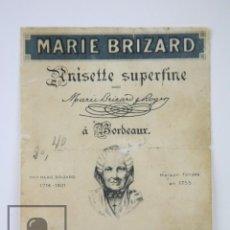 Etiquetas antiguas: ETIQUETA PUBLICITARIA - MARIE BRIZARD. ANISETTE SUPERFINE / ANÍS - PASAJES, SAN SEBASTIÁN. Lote 112596575