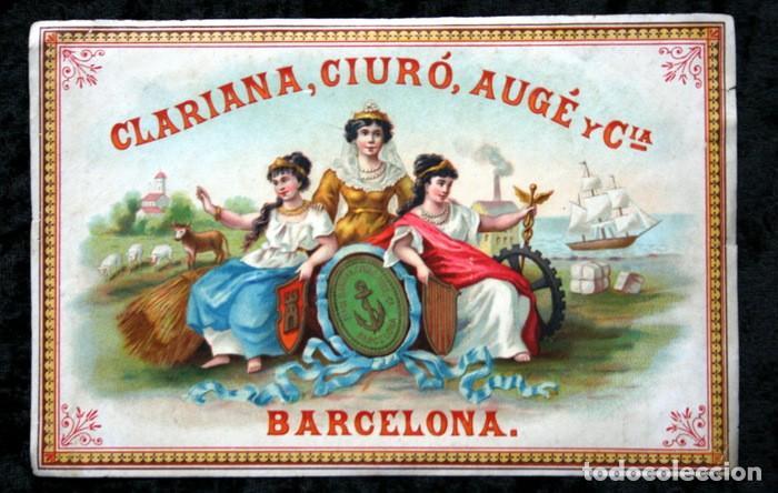 ANTIGUA ETIQUETA - CLARIANA , CIURO , AUGE Y CIA - BARCELONA 175X113MM (Coleccionismo - Etiquetas)