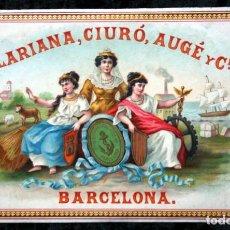 Etiquetas antiguas: ANTIGUA ETIQUETA - CLARIANA , CIURO , AUGE Y CIA - BARCELONA 175X113MM . Lote 113148695