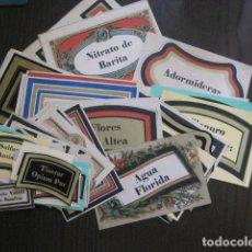 Etiquetas antiguas: LOTE 74 ETIQUETAS ANTIGUAS DE FRASCOS DE FARMACIA - VER FOTOS - (V-13.543). Lote 113288935