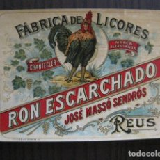 Etiquetas antiguas: ETIQUETA ANTIGUA RON ESCARCHADO - JOSE MASSO - REUS - VER FOTOS - (V-13.545). Lote 113293399