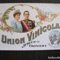 Etiquetas antiguas: ETIQUETA ANTIGUA UNION VINICOLA - JEREZ - REYES - VER FOTOS - (V-13.546). Lote 113293483