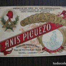 Etiquetas antiguas: ETIQUETA ANTIGUA ANIS PICUEZO -QUEL -LOGROÑO- GORRO REPUBLICA - VER FOTOS - (V-13.549). Lote 113293651