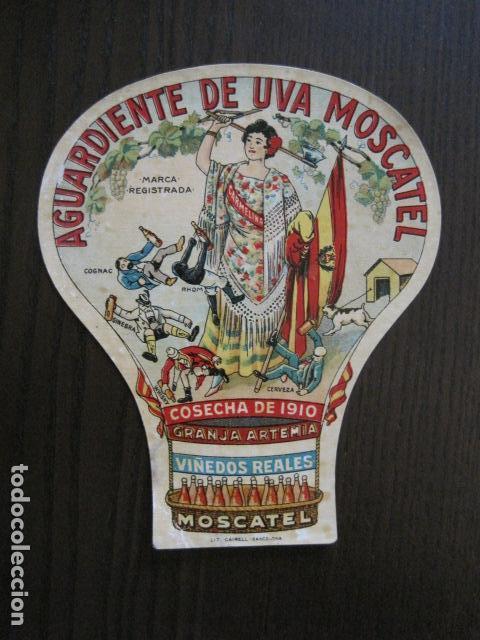 ETIQUETA ANTIGUA AGUARDIENTE DE UVA MOSCATEL -GRANJA ARTEMIA - VER FOTOS - (V-13.548) (Coleccionismo - Etiquetas)