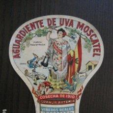 Etiquetas antiguas: ETIQUETA ANTIGUA AGUARDIENTE DE UVA MOSCATEL -GRANJA ARTEMIA - VER FOTOS - (V-13.548). Lote 113293755