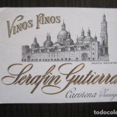Etiquetas antiguas: ETIQUETA ANTIGUA VINOS SERAFIN GUTIERREZ - CARIÑENA - ZARAGOZA - VER FOTOS - (V-13.551). Lote 113293947