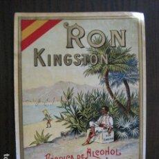 Etiquetas antiguas: ETIQUETA ANTIGUA RON KINGSTON - GASPAR Y CIA.-CARIÑENA - VER FOTOS - (V-13.552). Lote 113294055