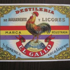 Etiquetas antiguas: ETIQUETA ANTIGUA AGUARDIENTE LICORES EL GALLO GIMENEZ-VILLASANJURJO-REPUBLICA-VER FOTOS - (V-13.553). Lote 113294231