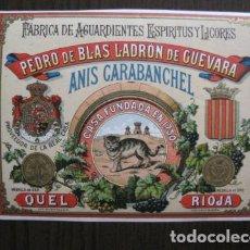 Etiquetas antiguas: ETIQUETA ANTIGUA ANIS CARABANCHEL - QUEL - LA RIOJA -VER FOTOS - (V-13.555). Lote 113294327