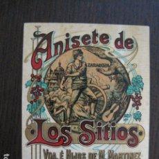 Etiquetas antiguas: ETIQUETA ANTIGUA ANISETE DE LOS SITIOS-ALMONACID DE LA SIERRA -CARIÑENA -VER FOTOS - (V-13.559). Lote 113294715