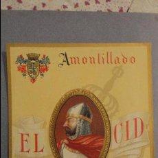 Etiquetas antiguas: ANTIGUA ETIQUETA AMONTILLADO EL CID OSBORNE.PUERTO DE SANTA MARIA Nº 197. Lote 113297775