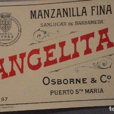 Etiquetas antiguas: ANTIGUA ETIQUETA MANZANILLA FINA ANGELINA.SANLUCAR DE BARRAMEDA.OSBORNE Y CO.PUESTO SANTA MARIA 197. Lote 113298111