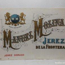 Etiquetas antiguas: ETIQUETA DE UNA BODEGA DE JEREZ FRA. ... ANTIGUA.. Lote 113378707