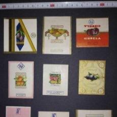 Etiquetas antiguas: 9 ENVOLTORIOS DE CARAMELOS. Lote 113964115