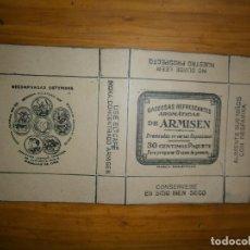 Etiquetas antiguas: ¡¡PRECIOSA CAJITA¡¡¡ AÑOS 40-50 ..GASEOSAS REFRESCANTES AROMATICAS DE ARMISEN. Lote 114046375