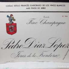 Etiquetas antiguas: ETIQUETA DE UNA BODEGA DE JEREZ FRA......ANTIGUA.. Lote 114468659