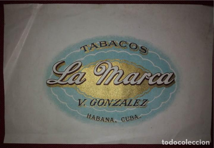 Etiqueta caja de puros TABACOS LA MARCA V.Gonzalez Habana, Cuba