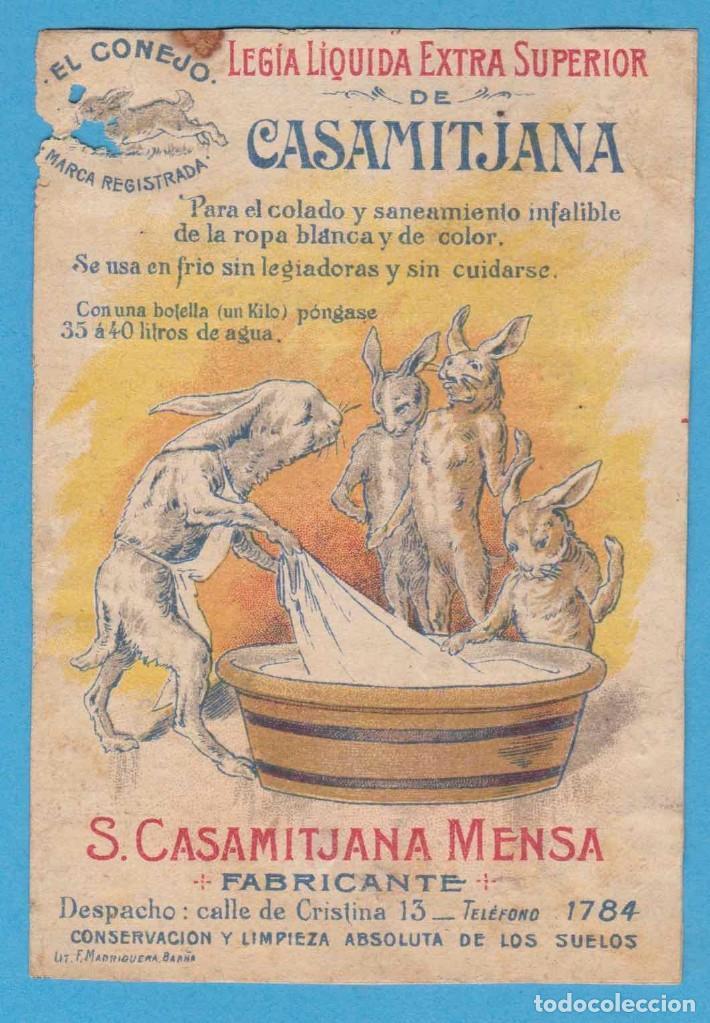 LEGÍA LIQUIDA EXTRA SUPERIOR DE CASAMITJANA. EL CONEJO. S. CASAMITJANA MENSA, FABRICANTE. BARCELONA (Coleccionismo - Etiquetas)