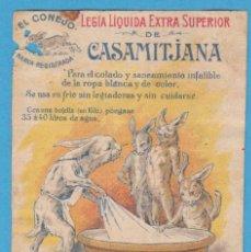 Etiquetas antiguas: LEGÍA LIQUIDA EXTRA SUPERIOR DE CASAMITJANA. EL CONEJO. S. CASAMITJANA MENSA, FABRICANTE. BARCELONA. Lote 114551503