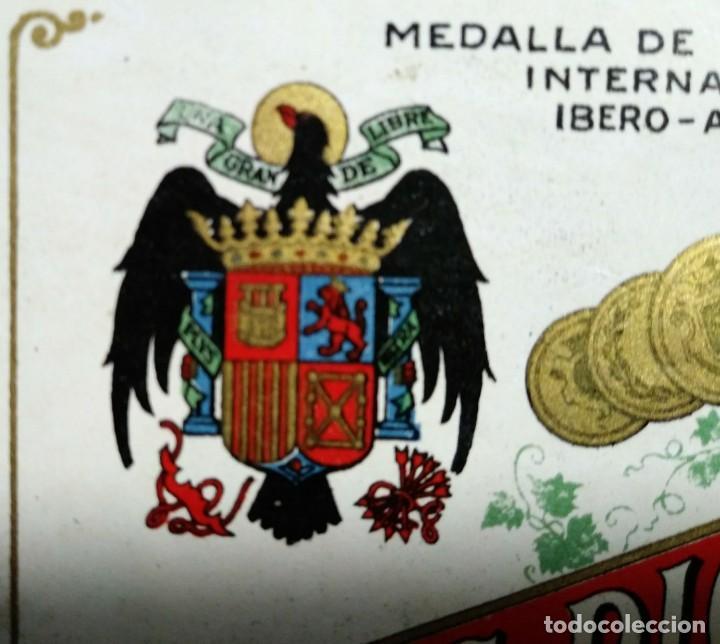 Etiquetas antiguas: Anis Picuezo. Antigua etiqueta con escudo franquista. Fábrica de anisados finos. Quel. Logroño - Foto 3 - 114778107