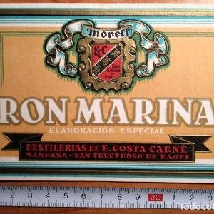 Etiqueta Relieve RON MARINA Moreff Destilerías de E.Costa Carné Manresa, Sant fructuoso de Bages
