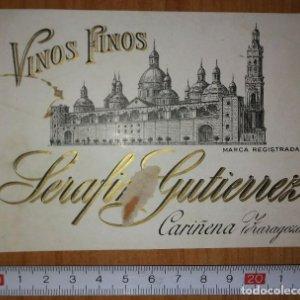 Etiqueta VINOS FINOS Serafin Gutierrez Cariñena Zaragoza