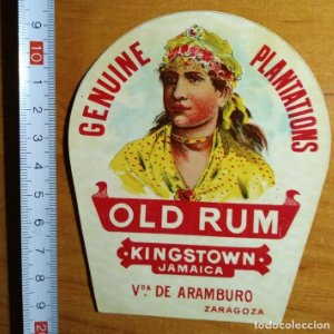 Etiqueta GENUINE PLANTATIONS - OLD RUM - Kingstown Jamaica