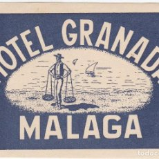 Etichette antiche: ANTIGUA ETIQUETA DEL HOTEL GRANADA DE MALAGA. Lote 115066915
