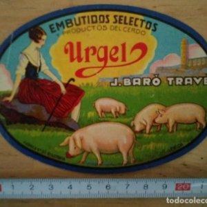 Etiqueta embutidos Urgel Embutidos del cerdo J.Baro Trave