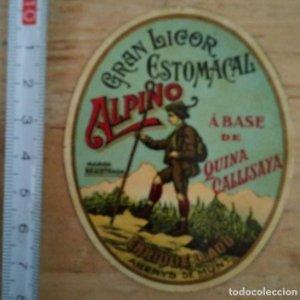 Etiqueta Gran licor estomacal ALPINO A base de Quina Callisaya Enrique Llado Arenys de munt