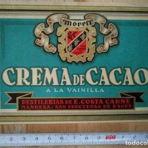 Etiqueta Crema de cacao a la vainilla Moreff