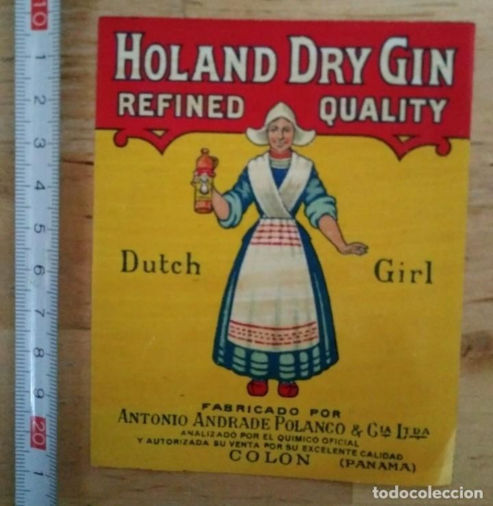 Etiqueta Holand Dry Gin Refined quality Dutch Girl Colon Panama