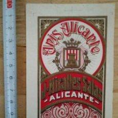 Etiquetas antiguas: ANÍS ALICANTE J.MIRALLES SALAS ALICANTE RELIEVE CON LÍNEAS IMPRENTA. Lote 115127751