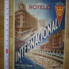 Etiquetas antiguas: ETIQUETA HOTEL INTERNACIONAL BARCELONA SAN SEBASTIAN. Lote 115128663