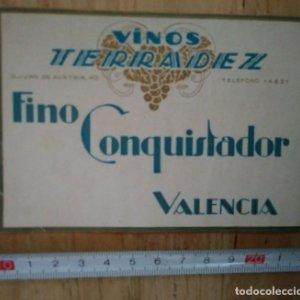 Etiqueta Fino conquistador Valencia Vinos Terradez
