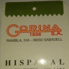 Etiquetas antiguas: 5 ETIQUETAS DIFERENTES GORINA SA .SABADELL. Lote 115313115
