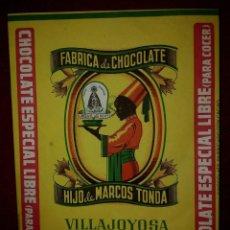 Etiquetas antiguas: 1948 ENVOLTORIO FÁBRICA DE CHOCOLATE VILLAJOYOSA PARTIDA CHOVAES CHOCOLATE ESPECIAL LIBRE PARA COCER. Lote 115450547