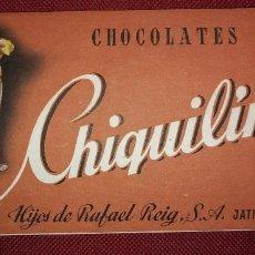 Etiquetas antiguas: 1950 CHIQUILIN ENVOLTORIO CHOCOLATES CHIQUILIN - JATIVA - VALENCIA - PUBLICIDAD ANTIGUA CHIQUILIN. Lote 115453091