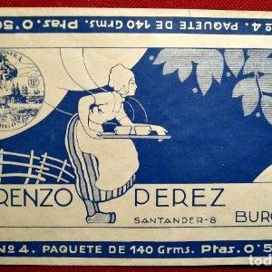 Etiqueta Años 30 Envoltorio CHOCOLATE CANELA LORENZO PEREZ Santander