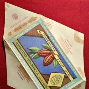 Etiqueta Años 40 Envoltorio CHOCOLATE FINO numero 6 Zaragoza