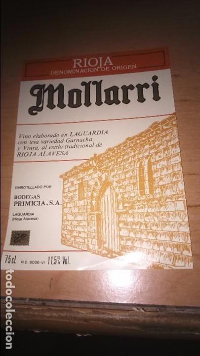 ETIQUETA VINO RIOJA MOLLARRI. BODEGAS PRIMICIA (Coleccionismo - Etiquetas)