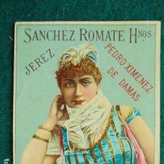 Etiquetas antiguas: ETIQUETA DE VINO DE JEREZ BODEGA SANCHEZ ROMATE PEDRO JIMÉNEZ DE DAMAS. Lote 117706711